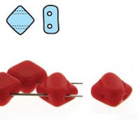 Silky Bead, 6mm, 2-Hole - Opaque Red