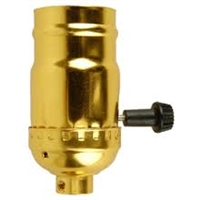 UL Approved Brass Shell Sockets - Three Way Turn Knob