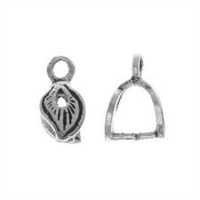 Sterling Silver Mini Leaf Bail - 8x12mm - 2mm Loop