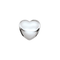 Sterling Silver Heart Bead - 7mm - 1.5mm Hole Size
