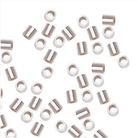 Sterling Silver Crimp Tubes - 2mm x 2mm, 1.3mm ID