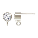 Sterling Silver Bezel Set CZ Post with Loop - 6mm