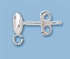 Sterling Silver Flat Ball Post with Loop - 5mm