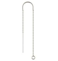 Sterling Silver U-Threader Earring - Bead Chain Drop with Ring #3