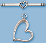 Sterling Silver Double Heart Toggle
