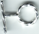 Sterling Silver Diamond Cut Twisted Toggle