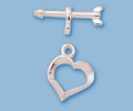 Sterling Silver Fancy Heart Toggle