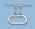 Sterling Silver Oval 2-Strand Toggle - Small