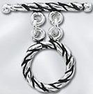 Sterling Silver Rope 2-Strand Toggle