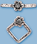 Sterling Silver Square Flower Toggle