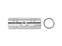 Sterling Silver Tube with Closed Diamond Pattern - 5mm x 15mm