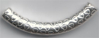 Sterling Silver Decortative Curved Tube - Heart