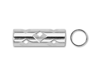 Sterling Silver Tube with Open Diamond Pattern - 5mm x 15mm