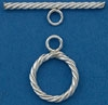 Sterling Silver Filled Twisted Toggle - 12mm