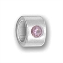 Sterling Large Hole Bead - Lt Amethyst/June