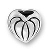 Sterling Large Hole Bead - Lined Heart