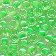 Taiwanese Size 6/0 E Bead - Green Lined Clear Lustre #277