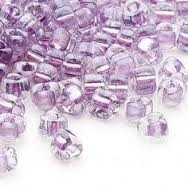 Taiwanese Size 6/0 E Bead - Lt Amethyst Lined Clear Lustre #506A