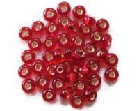 Taiwanese Size 6/0 E Bead - Silver Lined Red #25D