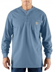100237-465 Carhartt Work Henley Shirt - Med Blue