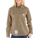 WFRS160 Women's Carhartt Button Work Shirt - Khaki
