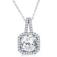 Sterling Silver Square with Large CZ Center & CZ Border Pendant