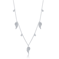 Sterling Silver Alternating Angel Wings and Bezel-Set CZ Necklace