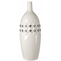 Proudly display this Fine Bone china Vase in an office, home, or church, Or give it as a unique wedding gift idea at your next wedding reception, Bridal Shower, or wedding anniversary. It shows a It's crafted from Fine bone china and 100% Swarovski crysta