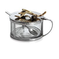 OLIVE BRANCH GOLD CONDIMENT CONTAINER W/ SPOON