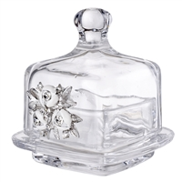 Italian Crystal Trinket Box with Swarovski Crystal Flower