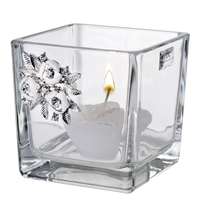 Italian Crystal Votive Candle holder with Swarovski Brooch Candle Included