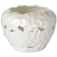 Italian Porcelain Tealight Holder Pierced Embossed Daisy Decor Ivory