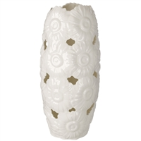 Italian Bone China Vase with Embossed Daisy Décor Pierced Ivory