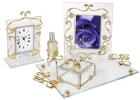 Italian 4Pc 18kt Gold Plated Bedroom Vanity
