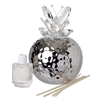 Italian Silver Hammered Finish Decorative Reed Diffuser Crystal, Butterfly Top