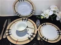 49 PCS DINNER SET, BURBERRY DESIGN