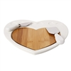 Debora Carlucci White Porcelain and Wood 3pc Cheese Cutting Board