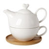 Debora Carlucci White Porcelain 2 Piece Tea Pot and Cup in One