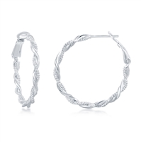 Sterling Silver Intertwinted Rope & Twist Design Hoop Earrings