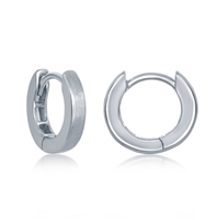 Sterling Silver Brushed Huggie 3x13mm Hoop Earrings