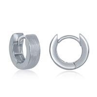 Sterling Silver Brushed Huggie 4x13mm Hoop Earrings