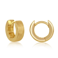 Sterling Silver 4x13mm Huggie Hoop Earrings - Brushed Gold Plated