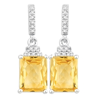 Bellissima Sterling Silver Octagon Citrine Earrings