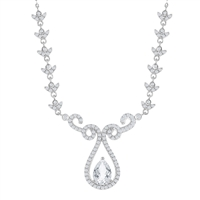 Sterling Silver 3.95 cttw White Topaz Designed Teardrop Bridal Necklace