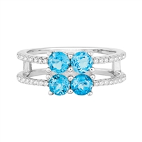 Bellissima Sterling Silver Round Swiss Blue Topaz Ring