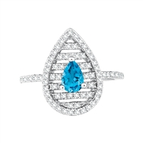 Bellissima Sterling Silver Pear Swiss Blue Topaz Ring