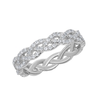 Sterling Silver 0.95cttw White Topaz Braided Design Ring