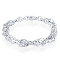 Sterling Silver Alternating Polished & Diamond-Cut Oval Linked Bracelet