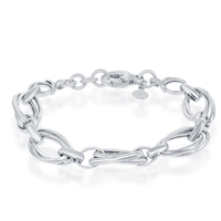 Sterling Silver Double Ovals High Polished Bracelet