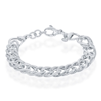 Sterling Silver Polished & Rope Design Bracelet